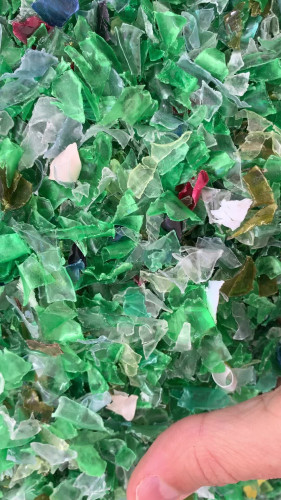 PET flakes hot washed -  green mix 18064