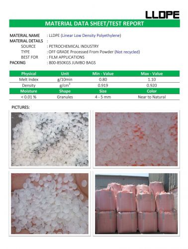 LLDPE processed from powder 21676