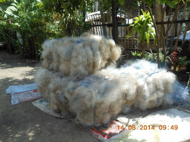 Used fishing nets (Nylon 6) ready for recycling. 19227