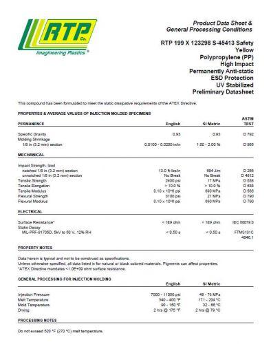 Polypropylene, Anti-Stat, Yellow (RTP199x123298S-S45413 22935