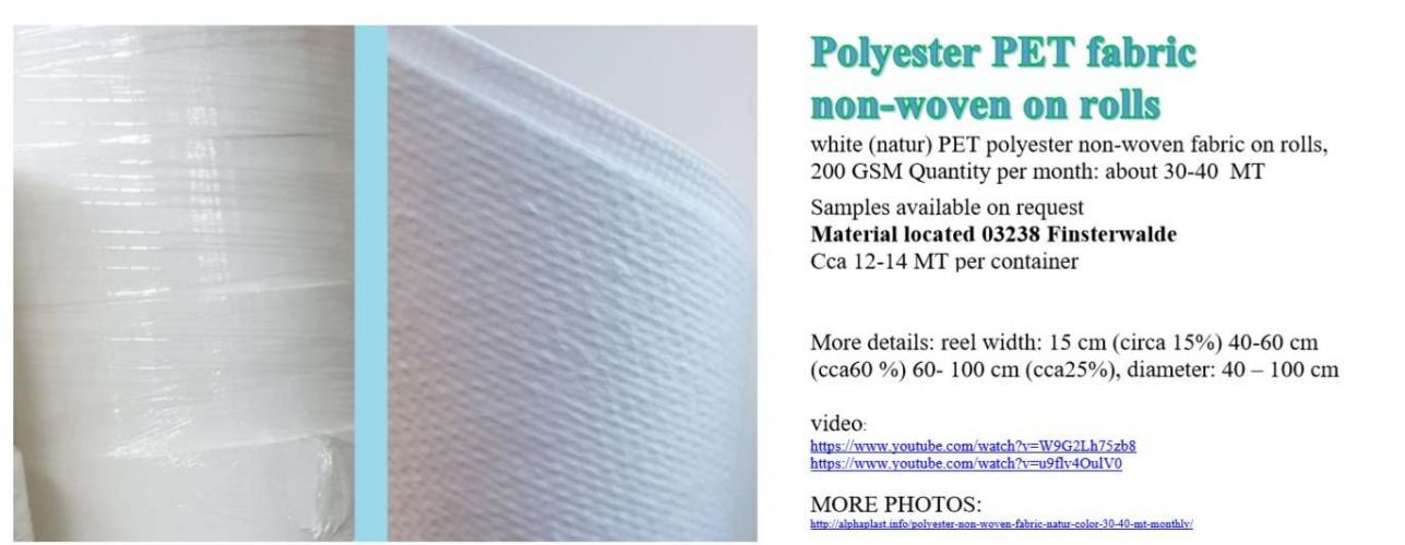 white (natur) polyester non-woven fabric on rolls, 200 16683